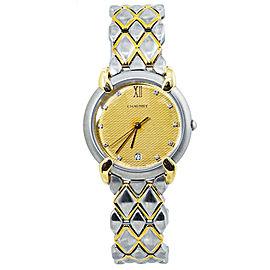 Chaumet OR-ACIER Griffe Womens Quartz Watch 18k Gold and Steel Diamond Dial 31MM