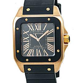 Cartier Santos 100 XL W20124U2 Rose Gold Rubber Black Dial Men's Watch 40mm