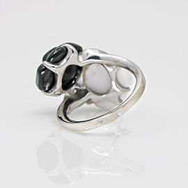 Chanel Onyx Agate Diamond Camelia Ring in 18k White Gold