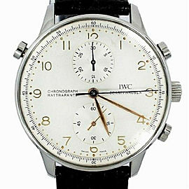 IWC Portuguese IW3712-02 Mens Split Second Manual Watch SS Chronograph 40mm