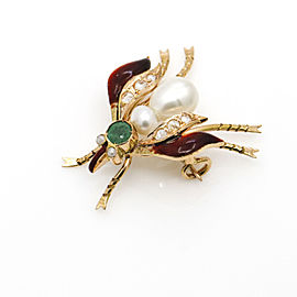 Pearl Emerald Diamond Fly Mosquito Brooch in 14k Yellow Gold