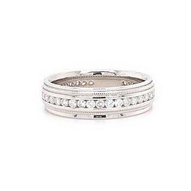 Men's Diamond Eternity Milgrain Detail Wedding Band Ring 6.4 MM 10kt White Gold