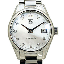 Tag Heuer Carrera WAR1314 MOP Dial Diamond Markers Ladies Quartz with Box&Papers