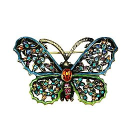 JAY STRONGWATER GORGEOUS FLORAL BUTTERFLY PIN BROOCH RAMIA SWAROVSKI NEW USA
