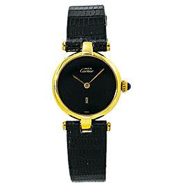 Cartier Must de Vermiel 925 Silver Gold Plated Round Watch Quartz 24MM