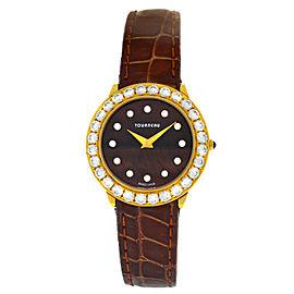 Tourneau Super Oro CA4138-BR Ladies Diamond 18K Yellow Gold Quartz 28MM Watch