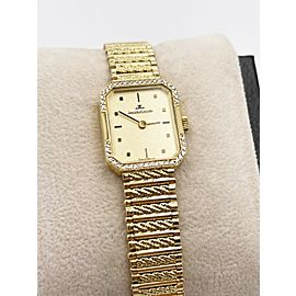 Jaeger LeCoultre Diamond Bezel Ladies Watch 18K Yellow Gold Watch