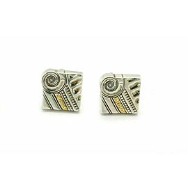 Lagos Caviar Sterling 18k Yellow Gold Fancy Design Square Top Stud Cufflinks