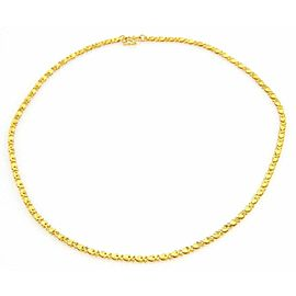 Hearts and X link Textured Solid 24k Gold Chain Necklace