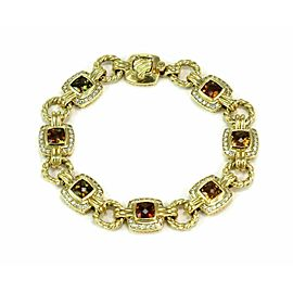 David Yurman Albion 1.12ct Diamond & Cushion Citrine 18k Yellow Gold Bracelet