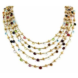 """Marco Bicego Paradise Multicolor Gems 18k Gold 5 Strands Beaded Necklace 31.5"""""""