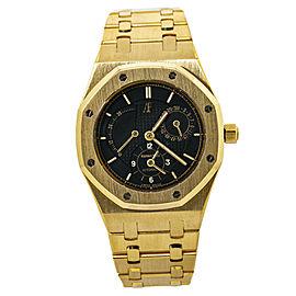 Audemars Piguet Royal Oak 25730BA Dual Time 18K Gold Black Dial Mens Watch 36mm