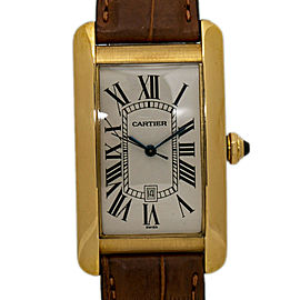 Cartier Tank Americaine Large W2603156 1740 18K Yellow Gold New Men's Watch 27mm