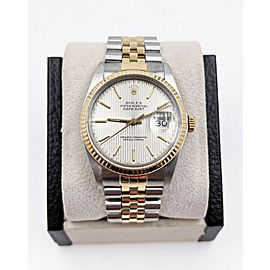 Rolex Datejust 16013 Tapestry Dial 18K Yellow Gold Stainless Steel Box Papers