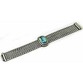 David Yurman Diamond Blue Topaz Sterling Silver 6 Box Chain Bracelet