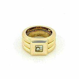 Chopard Happy Diamond 18k Yellow Gold Square Top Rib Band Ring