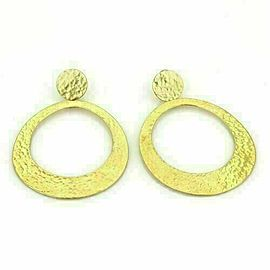 Ippolita Glamazon Hammered Large Oval Dangle 18k Yellow Gold Earrings