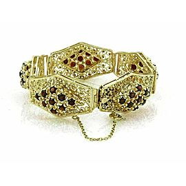 Estate Garnet 14k Yellow Gold Large Filigree Floral Link Bracelet