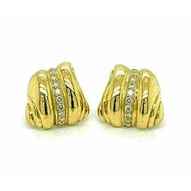 Kieselstein Cord Diamond 18k Yellow Gold Shell Design Post Clip Earrings