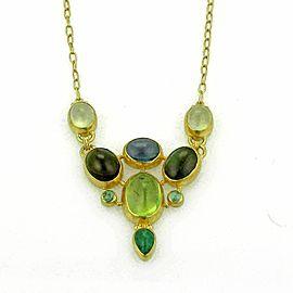 Gurhan 24k Gold Watermelon Tourmaline Emerald & Peridot Drape Necklace