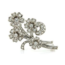 Vintage Diamond & Solid Platinum Spinning Floral Spring Brooch Pin