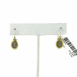 Gurhan Pave Diamond 24k Gold Oval Lay & Sterling Silver Dangle Earrings