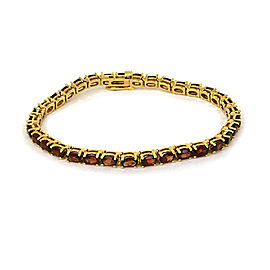 Oval Garnet 14k Yellow Gold Tennis Bracelet