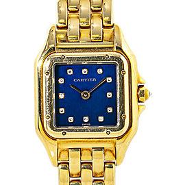 Cartier Panthere 1280 2 Women's Quartz 18K Gold Blue Factory Diamond Dial 22mm