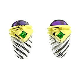 David Yurman Two Tone Renaissance Amethyst Emerald Earrings