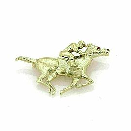 Ruby Jockey & Race Horse 14k Yellow Gold Brooch Pin