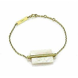 Victoria Casal Diamond White MOP Block & Bar Charm 18k Yellow Gold Bracelet