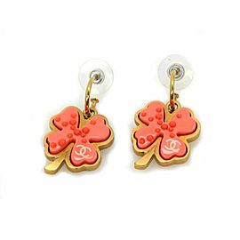 Chanel Orange Resin Four Leaf Clover Yellow Gold Tone Metal Dangle Earrings