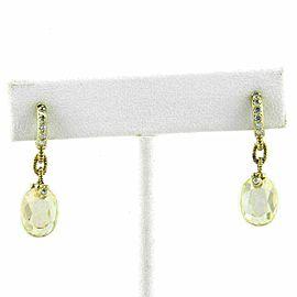 Judith Ripka Diamond Canary Crystal 18k Yellow Gold Dangle Earrings