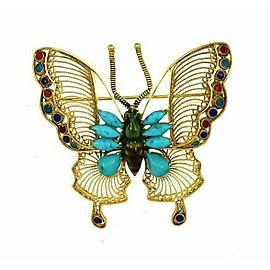 Filigree Butterfly Turquoise & Multi-Color Enamel 18k Gold Brooch