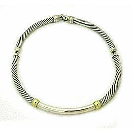 David Yurman Sterling Silver 14k Yellow Gold 3 Section Cable Choker Necklace