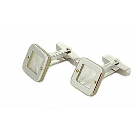 Baraka Mother of Pearl 18k Two Tone Gold Square Top Stud Cufflinks Rt. $3,400