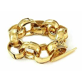 Chanel Fashion Gold Plated Metal Large Hammered Oval Links Toggle Clasp Bracelet
