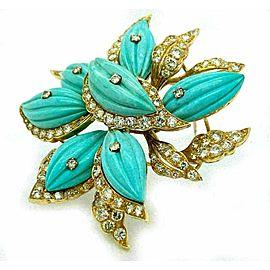 Stunning 4.00ct Diamond Turquoise k Yellow Gold Large Flower Brooch Pin