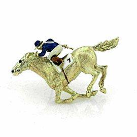 Enamel Jocky & Race Horse Large 18k Yellow Gold Brooch Pin