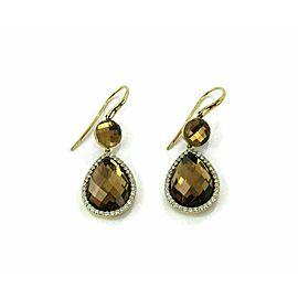 Roberto Coin Smoky Quartz Diamond 18k Yellow Gold Drop Dangle Earrings
