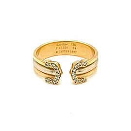 Cartier Double C Diamond 18k Tricolor Gold 6mm Cuff Ring Size 54 w/Cert