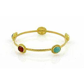 Gurhan Afgan 5 Gemstone 24k Gold Hammered Bangle
