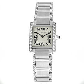 Cartier Tank Francaise 2384 Ladies Diamond Stainless Steel 20MM Quartz Watch