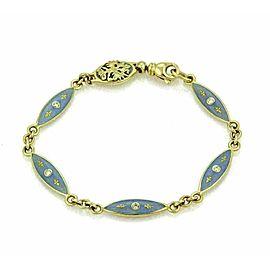Faberge Germany Diamond & Enamel 18k Yellow Gold Marquise Link Bracelet