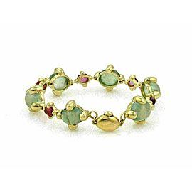 Green & Pink Tourmaline 18k Yellow Gold Oval Link Bracelet