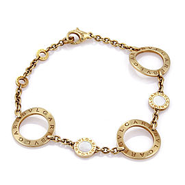 Bvlgari Signature Mother of Pearl 18k Gold 3 Large Circle Link Bracelet