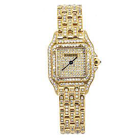 Cartier 8839 Panthere 18k Gold Factory Diamond Bezel Bracelet Quartz 23MM