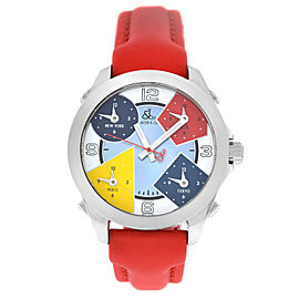 Jacob & Co. Five 5 Time Zone JCM-7 MOP Stainless Steel 40MM Watch Red Strap