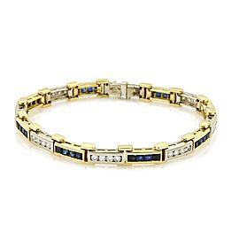 Estate 4.80ct Diamond & Sapphire 18k Two Tone Gold Long Bar Bracelet