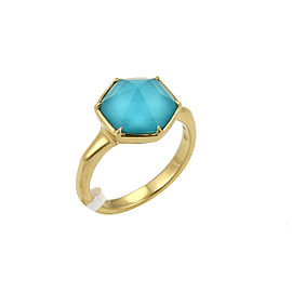 Stephen Webster Deco 4ct Blue Quartz 18k Yellow Gold Octagon Ring